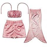 D'amelie Kinder Mädchen Meerjungfrau Schwanz Kostüm 3tlg. Badeanzug Bikini Set, Rosa, Gr. 130