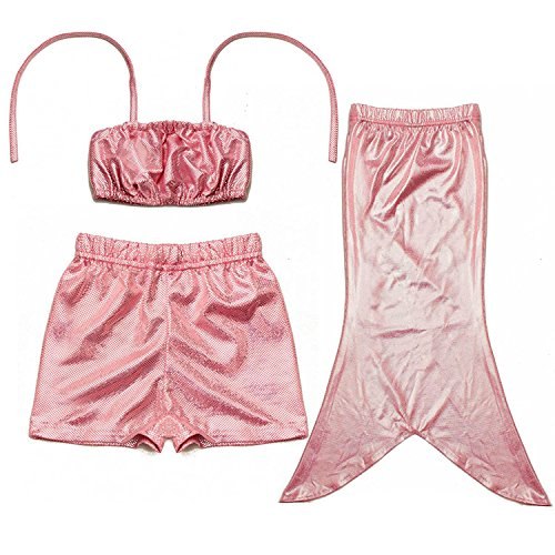 D'amelie Kinder Mädchen Meerjungfrau Schwanz Kostüm 3tlg. Badeanzug Bikini Set, Rosa, Gr. 130 (Puffy Shirt Kostüm)