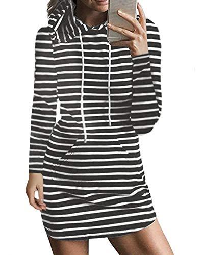 Kidsform Robe été Femme sans Manches Rayée Casual Mini T-Shirt Robe Courte à Capuche Grande Taille Automne Sexy V-Gris Clair XS = EU 36