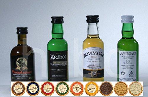 Set 4 Islay Single Malt Whisky Miniaturen, 2 davon prämiert, mit 9 DreiMeister Edel Schokoladen, kostenloser Versand