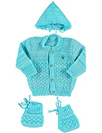 New Born Baby Woollen Knitted Baby Set (3pcs Suit)
