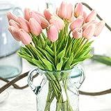 Unechte Blumen,Künstliche Deko Blumen Gefälschte Blumen Blumenstrauß Seide Tulpe Wirkliches Berührungsgefühlen, Braut Hochzeitsblumenstrauß für Haus Garten Party Blumenschmuck 12Stück Rosa