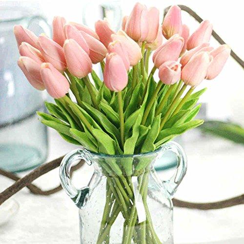 3 Stück Gebogene (Unechte Blumen,Künstliche Deko Blumen Gefälschte Blumen Blumenstrauß Seide Tulpe Wirkliches Berührungsgefühlen, Braut Hochzeitsblumenstrauß für Haus Garten Party Blumenschmuck 12Stück Rosa)