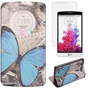 Semoss Quick Circle Coque Cuir pour LG G3 Papillon Etui Housse en Portefeuille Flip Fonction Stand Cover avec Protecteur d'ecran