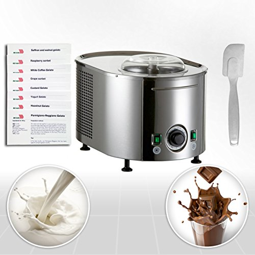 Eismaschine Musso Lussino MINI 4080 Gourmet mit 2 Geschmacksrichtungen Eiscreme Zubereitung. Original Eisrezepte aus Italien und Silikon Spachtel inbegriffen. Eiscrememaschine aus Edelstahl mit Kompressor