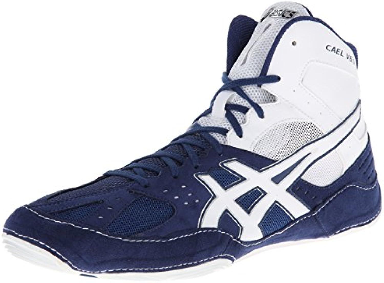 Zapatillas de lucha Asics Cael V6.0 para hombre, azul marino / blanco, 11 M US