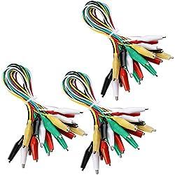 ELEGOO 30 pièces Essais Test Set avec Clips de Crocodile Double Extrémité 50 cm Fil Cavalier Câble de Connexion Jumper Wire
