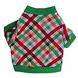 zrong Pet Puppy Navidad Verde Rojo rejilla ropa Dog T Shirt Dress año nuevo disfraces
