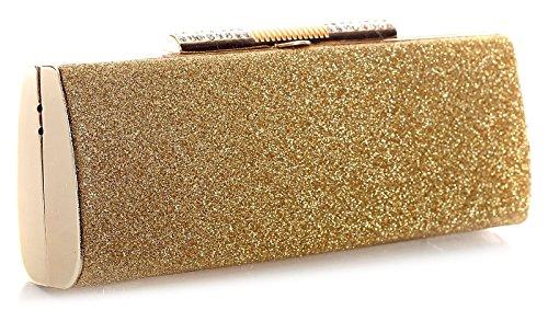 BHBS Damen Trendige glänzend Abend Partei Kupplung Handtasche 22 x 9 x 5 cm (BxHxT) 2911-11-480 Gold (Trendige Handtasche Shop)