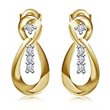 Vorra Fashion 14K Gold Plated 925 Sterling Silver Stud Earrings For Women (Yellow)