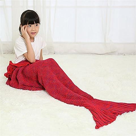 Queue de sirène Couverture pour enfants filles Embouts faite à la main à tricoter Couverture Super Doux toutes les saisons Sac de couchage, Red, 53.14 * 25.59 inch (Kids)