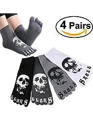 ULTNICE 4 paires Casual coton cinq orteils chaussettes courtes chaussettes hommes