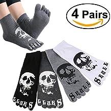 ULTNICE 4 pares de hombres Casual peine Ankel algodón calcetines con patrón de cráneo