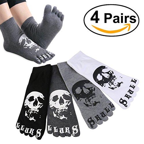 Produktbild ULTNICE 4 Paar Herren Casual Baumwolle Fünf Zehe Socken Kurz Socken