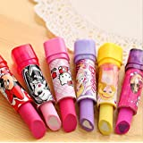 Pack of 6 Eraser Lipstick style | Best for Girls gift | included Characters are Six of the Girls favorite Cartoons | By Generic Hub™