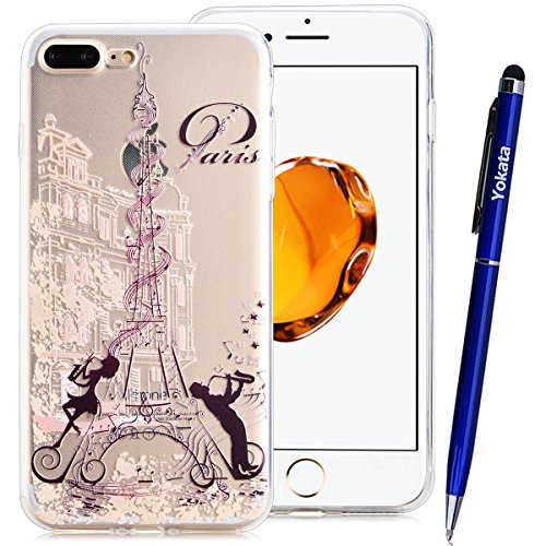 iPhone 7 Coque, Yokata Ultra Mince Prints Motif Cover avec Silicone Gel Bumper Transparente Housse Case + 1*Stylet - Don't Touch Me Eiffel