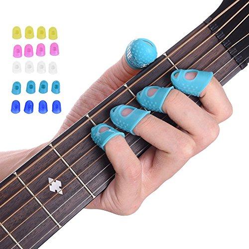 Malayas® 4 Unidades Protector de Dedos para Guitarra Eléctrica Acustica Clásica Bajo Ukulele Protectores Profesionales de Silicona para Instrumentos Musicales...
