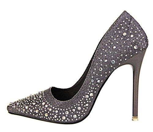 Minetom Femme Escarpin Talon Haut Élégant Brillant Strass Stilettos Soirée Mariage Bal Classique Chaussures Gris