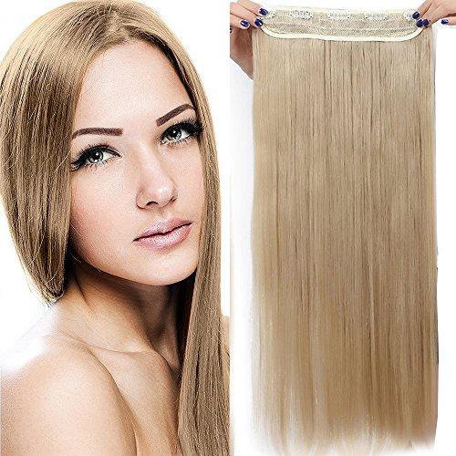 75cm extension clip capelli fascia unica estensioni per capelli lunghi lisci one piece hair 3/4 full head larga 25cm, biondo chiaro
