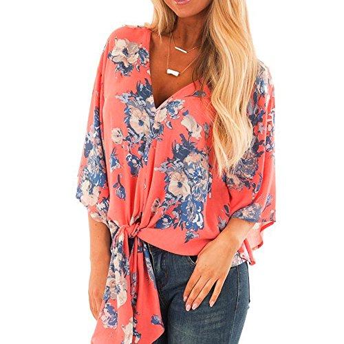 T Shirt con Stampa - UOMOGO Camicette Magliette Camicia Chiffon Girocollo Camicie Sciolto Blusa Eleganti Camicetta Maniche Manica 3/4 Donna