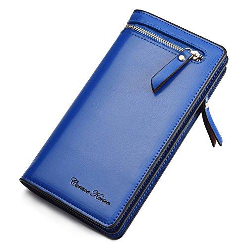 iLapland Kunstleder-Clutch Wallet Schutzhülle für Smartphones blau