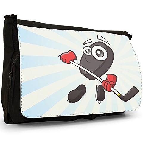 Sporticon Eishockey Puck Schlittschuhe Große Messenger- / Laptop- / Schultasche Schultertasche aus schwarzem Canvas