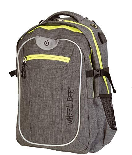 Wheel-Bee Rucksack Revolution, Design: Grey, mit integriertem LED Licht (grün) und Reflektorstreifen für Sicherheit und Sichtbarkeit, 30 Liter Volumen, viele Fächer, 950022 -