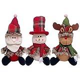 Decdeal 3pcs / set Bambole di Natale Babbo Natale pupazzo di neve Renna X'mas Party Decorations Ornamenti Regalo di Natale