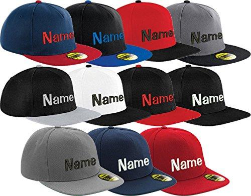 Nashville print factory Flat Peak Snapback Cap Bestickt mit Wunschtext Name Stickerei Wunschstickerei Mütze Basecap (Grey/Black)
