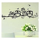Owl Wall Sticker Decor, SOMESUN Decalcomania domestica della decorazione della parete della farfalla del gufo del fumetto di arte del vinile dei bambini (Nero)