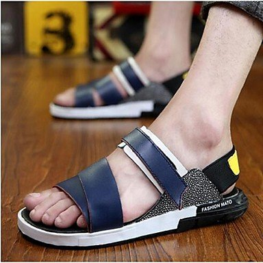 Los hombres sandalias de cuero verano Casual talón plano blanco negro azul US8.5-9 / EU41 / UK7.5-8 / CN42