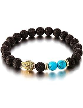 Herren Damen Armband aus Perlen mit Goldfarben Buddha, Tibetan Beads Buddhist Prayer Mala, Vulkan Vulkanisch Stein