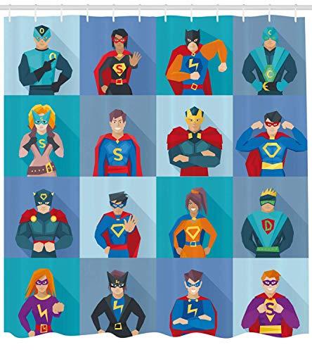 SRJ2018 Superheld Duschvorhang Charaktere mit übernatürlichen Kräften in besonderen Kostümen Comic Strip Humor Print Stoff Badezimmer Dekor Set mite Multicolor (Übernatürliche Kostüm)