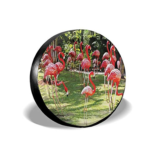 Tire Cover Tire Cover Wheel Covers,Flamingo Bird Model In The Garden In Colors Under Sun Rays Shadows,for SUV Truck Camper Travel Trailer Accessories(14,15,16,17 Inch),Tire Cover size:16inches -