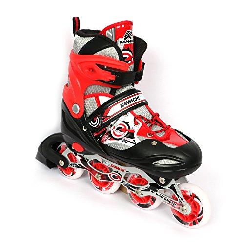 Kamachi K-906 100-percent-cotton-jersey Inline Skates, Large (Red/White)
