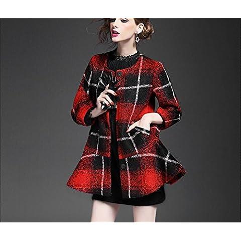 BIU Mujeres de la elegancia de la tela escocesa con volantes abrigo largo de lana bufanda de invierno enviar , red ,