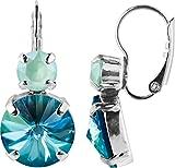 Klassik mit Rivoli Ohrring , Farbe:Crystal Celadon