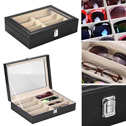Brillen Aufbewahrungskoffer, 8 Slots Brillen Sonnenbrille Gläser Organizer Portable Aufbewahrungskoffer Schmuck Dispay Grid Box