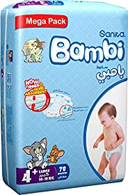 Sanita Bambi, Size 4+, Large+, 10-18 kg, Mega Pack, 78 Diapers