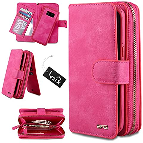 Urvoix Galaxy S8, Premium Leather Zipper Wallet Multi - functional Handbag Detachable Removable Magnetic Case with Flip Card Holder Cover for Samsung Galaxy S8