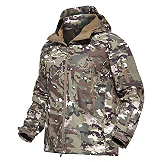 KEFITEVD Military Hunting Camo Tactical Soft Shell Fleece Jackets for Men Waterproof Coat, CP, UK L (Tag XL)
