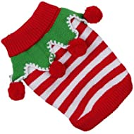 Red and White Stripe Knitted Christmas Elf Cat Kitten Jumper – 4 Sizes