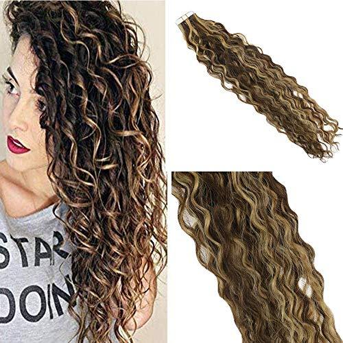 Easyouth Doubel Side Curly Tape in Haarverlängerung für Frauen 16 Zoll Farbe # 4 Medium Brown Highlight mit Farbe # 27 Honig Blonde Haut Schuss Echthaar -