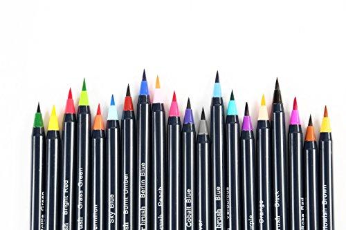 Aquarell-Pinsel-Stifte - 20 vorgefüllte Aquarell-Pinselmarker mit echten Pinselspitzen für die Wasserfarbe - BONUS Tuch Canvas Wrap & Water Brush Stift - geruchs- und ölfrei - 22-teiliges Set  -