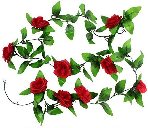 AKORD Künstliche hängende Dekoration Vine Seide Rose Blume Blätter, rot, 200x 3,7x 5cm (Seide Rosen Rote)