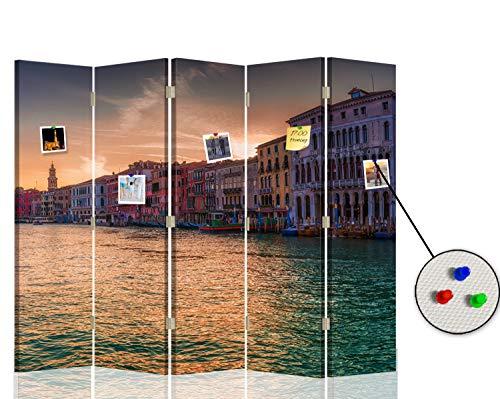 Feeby Biombo con Corcho Venecia 5 Paneles Bilateral Agua Arquitectura Multi 180x175 cm