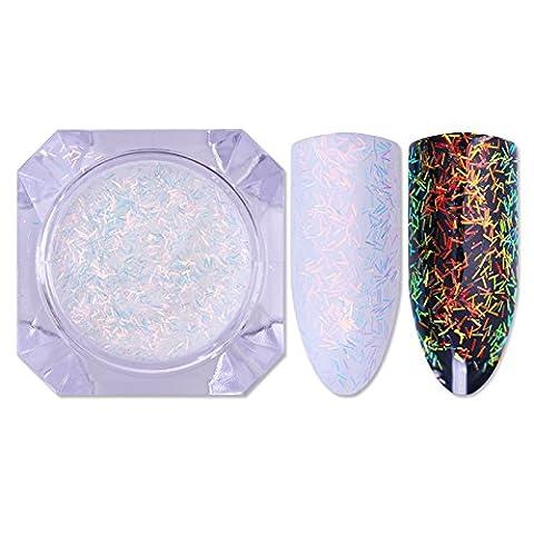 Coulorbuttons Unicorn Chrome Poudre Nail Art Chrome Pigment Poudre de sirène DIY matériaux, blanc, White Stripe