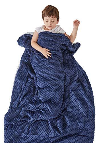 SCM Kinder Gewichtsdecke mit abnehmbaren Warm Fleece & Coolmax Bezüge Schwere Decken Weighted Blanket für Jugendliche (100x150cm)