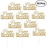 10 Pcs Happy Birthday Cake Topper Cake Decorations Party Supplies (Golden)