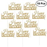 #9: 10 Pcs Happy Birthday Cake Topper Cake Decorations Party Supplies (Golden)